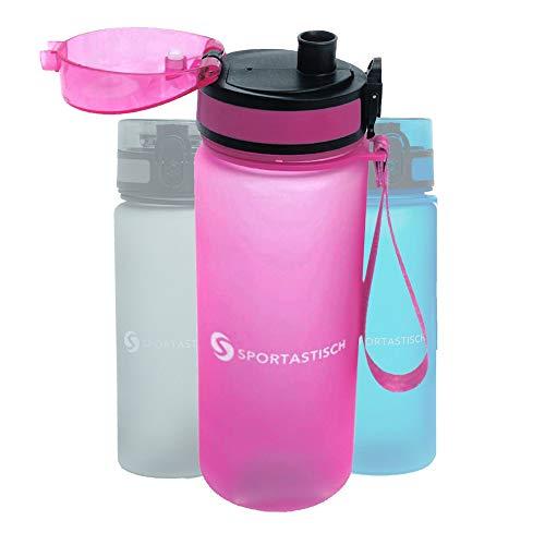 Sportastisch Top Produkt¹ Sport Trinkflasche Happy Fresh mit Fruchteinsatz 650ml, Wasserflasche auslaufsicher & kohlensäure geeignet, Tritan Sportflasche ideal für Schule Sport Yoga Fahrrad Camping