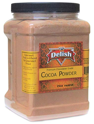 Premium Chocolatier Grade Cocoa Powder by Its Delish, 25 Oz (1.56 lbs) Jumbo Reusable Container | Medium Dutch Cocoa Powder for Baking, Chocolate Making and Flavoring