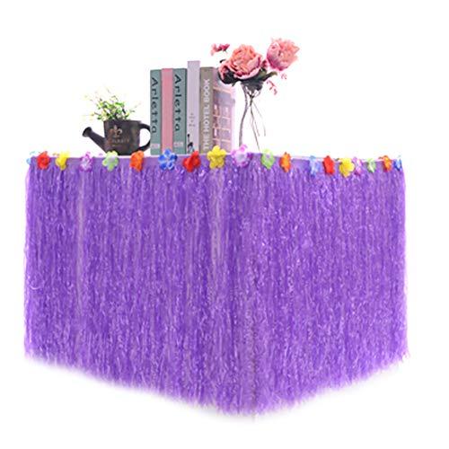 WFZ17 Falda de mesa hawaiana Luau para fiestas, jardín tropical, playa, baile, decoración de flores, color morado, 30 x 276 cm