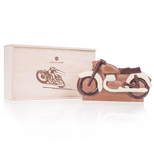 ChocoMotor II - Motorrad aus Schokolade | Holzkästchen | Geschenk für Liebhaber von Motorrädern | Kinder | Erwachsene | Mann | Frau | Geschenkidee | Junge | Mädchen