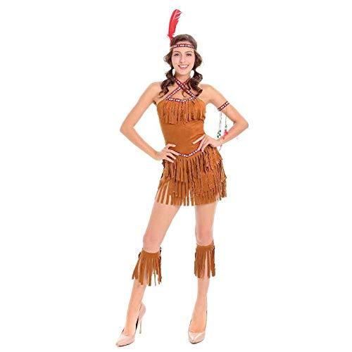 YyiHan Cosplay Disfraz, Papel Atractivo del Traje Indio Tribu Princesa Jugando Maquillaje Cosplay Traje de Halloween demostración de la Etapa del Traje del Partido del Traje de Flecos