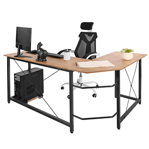 AuAg Modern L-Shaped Home Office Desk 66 inch Sturdy Computer PC Laptop Table Corner Desk Workstation Larger Gaming Desk Easy to Assemble 66.5  x 47.5  x 29.3  (Wood)