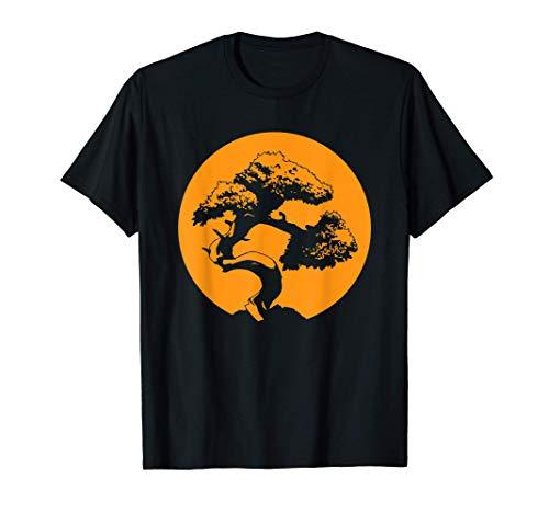 Bonsai Shirt Japanese Trees Zen Buddhist Orange Sunset T-Shirt