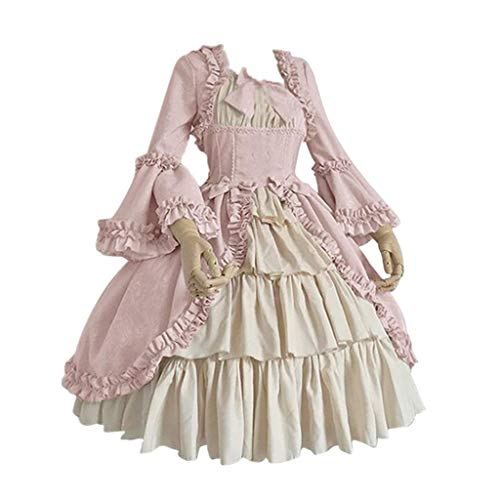 Elospy Vintage Gothic Kleid Damen Mittelalter Renaissance Kleidung Halloween Karneval Festival...