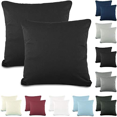 CelinaTex Active Kopfkissen Bezug Doppelpack Set 80x80 schwarz Baumwolle Jersey Nackenkissen Kissenhülle 5001546