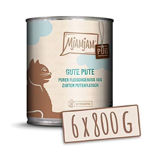 MjAMjAM - Pienso acuoso para Gatos - Pavo de Calidad Puro - Sin Cereales - 6 x 800 g