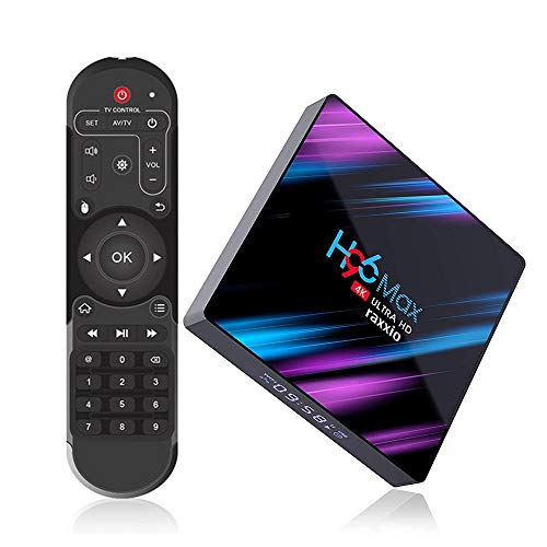 Raxxio H96 Max Android TV Box 9.0 with 4GB RAM 64GB ROM I 4K Smart Set Top Box Equipped RK3318 Quad-Core Processor 64bit Support 3D 2.4G/5G Dual WiFi/H.265/BT 4.0/USB 3.0 I Latest Model