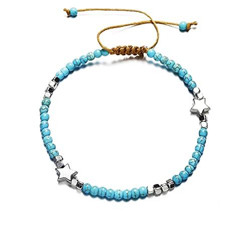 HETHYAN Pulsera de Tobillo de Moda Crystal Beads Tobilleras para Mujer Bohemia Cadena Pulsera Ocean Beach Pie Jewelry (Metal Color : Style C)