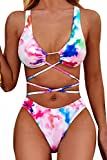VNVNE Womens Tie Dye Two Piece Swimsuits,Sexy Lace Up High Waisted Thong Bikini Set Bathing Suit (Pink, L)