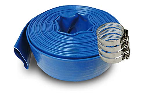 SCHRAIBERPUMP 3-Inch by 200-Feet- General Purpose Reinforced PVC Lay-Flat Discharge and Backwash Hose - Heavy Duty (4 Bar) 4 Clamps Included