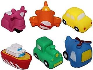 Zpong 6Pcs Set Kids Swimming Toys Set PVC Vehicle Boat Airplane Car Train Bath Sounding Toys for 0-6 Years Jialele