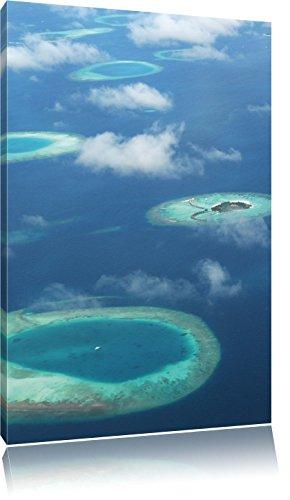 Droom eiland in de zeeFoto Canvas | Maat: 100x70 cm | Wanddecoraties | Kunstdruk | Volledig gemonteerd