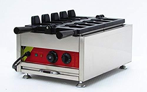 MXBAOHENG Kommerziell Eis Taiyaki Waffelautomat 5 Pcs Belgische Waffelmaschine Elektrisch Fisch Waffeleisen