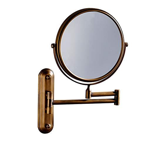3X Grossissement Fixation Murale Miroirs De Maquillage, 8 Pouces Double-Face Extensible Pliant Miroir Cosmétique Miroir De Rasage Brossé Cuivre-Base Longue 20cm/8''