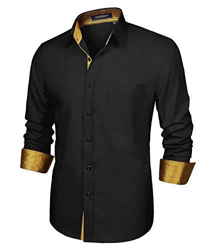 HISDERN Herren Schwarz Gold Hemd formelle Freizeithemd Businesshemden Freizeithemden Langarm Klassisch Regular Fit Hemden