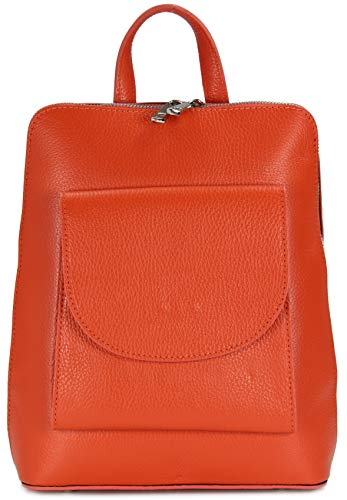 Belli Backpack Denver mittelgroßer Italienischer Damen Leder Rucksack Rucksacktasche Handtasche Cross Body Bag 3in1-23x28x8cm (B x H x T) (Orange)