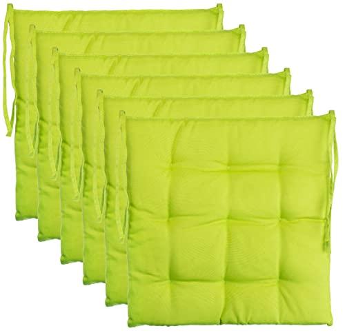 BrandssellerCojín decorativo de asiento para silla de jardín, 9 pespuntes, varios diseños, poliéster, verde, 6er-Paket