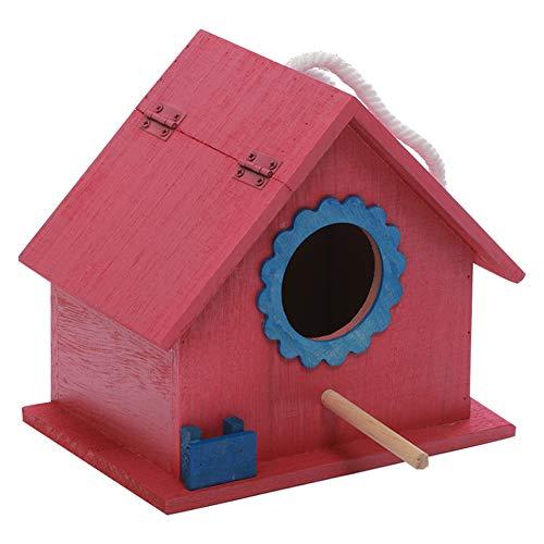 AMITD Nistkasten Vogelhaus Holz, Kleines Flugloch, Singvögel, Vogelhäuschen, Vogelhaus, Haustier Spielzeug, Für Wildvögel Zum Aufhängen Aus Holz, Nisthilfe Mit Rindendächern