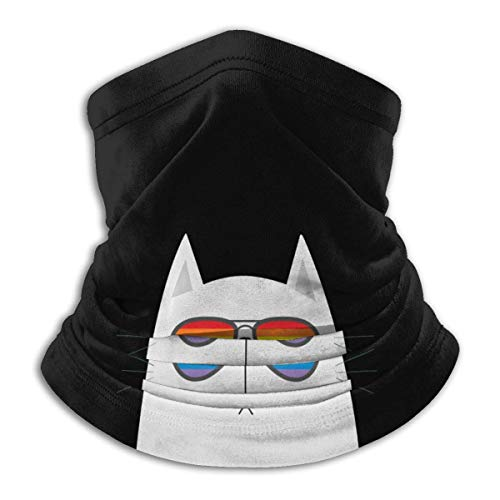 Neck Warmer Gato Blanco con Gafas De Sol Arcoíris Montar Senderismo Cintas para La Cabeza Pesca Polaina para El Cuello Regalo Personalizado Unisex Tocado para Correr Colorido Al Ai