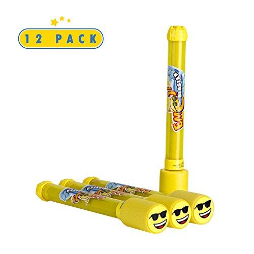 Toyrifik 12 Pack Emoji Blaster Water Guns-Bulk Pack Water Shooters for Summer Party Favor or Activity Fun Gun for Kids- Water Gun Bundle Pack