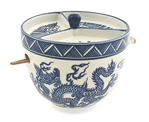 Happy Sales HSRB-CDMDRG4, Multi Purpose Japanese Design Ceramic Ramen Udong Soba Tempura Noodle Pho...