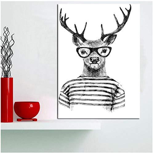 dayanzai Nordic Poster Abstrakte Geometrische Tiere Poster Und Drucke Wandkunst Leinwand Malerei Mr Deer Kunst Bilder Für Wohnzimmer 50X70 cm Kein Rahmen