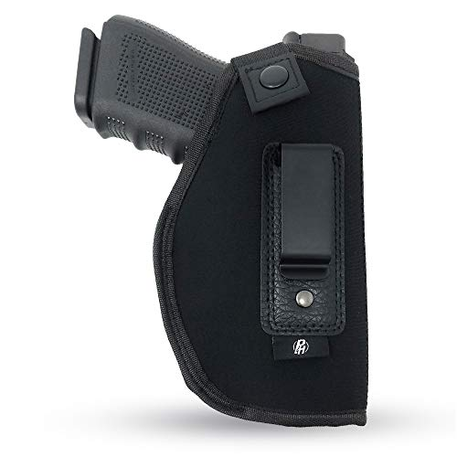 IWB Gun Holster by PH - Concealed Carry Soft Material | Soft Interior | Fits Glock 17 19 23 25 32 38 | Sig Sauer P320 | Springfield XDS 4' | Springfield XDE and Similar (Large, Right)