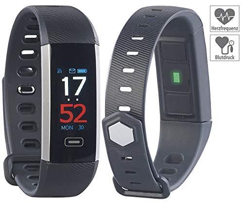 Newgen Medicals Pulsuhr ohne Brustgurt: Fitness-Armband mit Farbdisplay, Blutdruck-Anzeige, Bluetooth, IP67 (Blutdruck Armbanduhren)