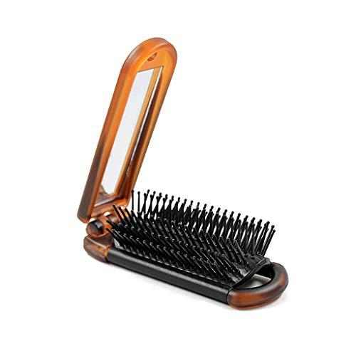 jinrun Peine de peluquería Peine Plegable portátil del Amortiguador de Aire del Masaje del Saco Hinchable del airbag del Peine de la Muchacha con el Mini Espejo de vanidad Peine de Corte de Pelo