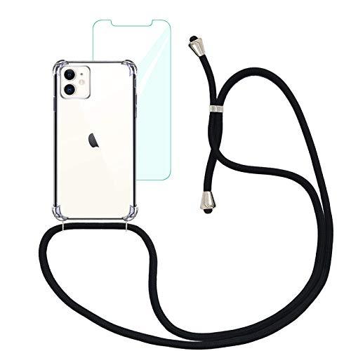 Yohii Handykette Handyhülle für iPhone 11 + Panzerglas Schutzfolie, Hülle mit Kordel zum Umhängen Necklace Hülle mit Band Transparent Silikon TPU Schutzhülle, Hülle Kompatibel mit iPhone 11 - Schwarz