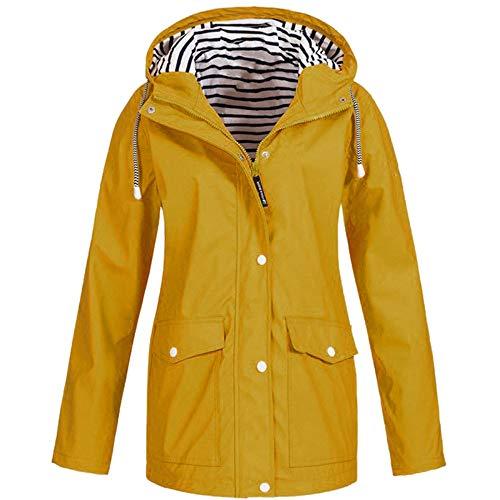 GJKK Regenjacke für Damen Outdoor Plus Wasserdichter Regenmantel mit Kapuze Winddicht Anti-UV Jacke Sonnenschutz Jacke Softshell Jacke Windjacke Sportjacke Freizeitjacke