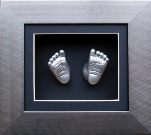 Anika-Baby BabyRice 6 x 5inch Baby Casting Kit with Brushed Pewter 3D Effect Box Display Frame (Metallic Silver)