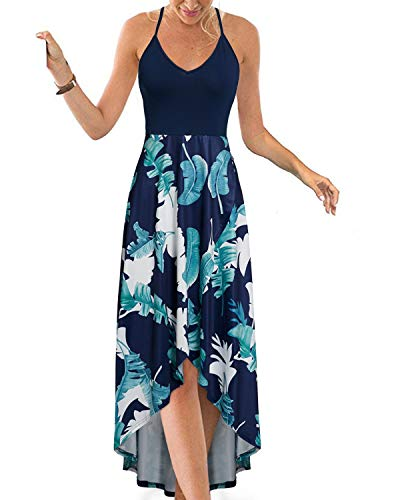 KILIG Women s V Neck Sleeveless Casual Summer Sundresses Asymmetrical Patchwork Floral Maxi Dresses(Floral-6, Medium)