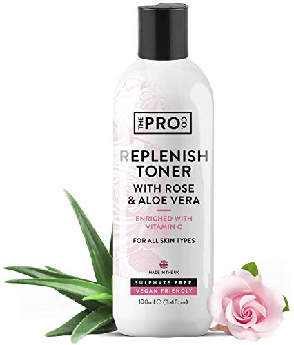 Replenish Face Toner with Rose & Aloe Vera 100ml – Enriched with Vitamin C – Vegan Friendly – Suitable for All Skin Types – Sustainable Plastic Free Bottle – Made in The UK by The Pro Co