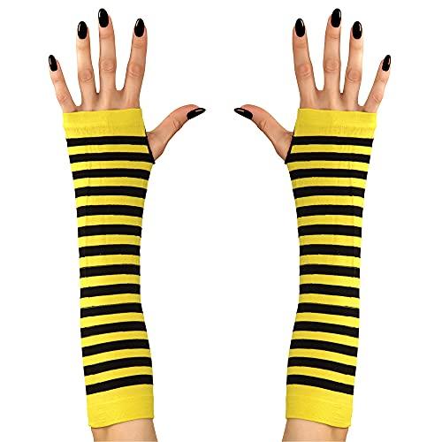 Widmann 04632 Fingerlose Handschuhe Biene, Damen, Schwarz/Gelb, Einheitsgröße
