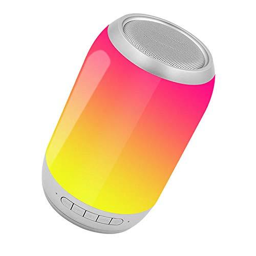ist Präfekt für Streaming / Podcasting / Gaming Tragbare Bunte LED Licht drahtlose Bluetooth-Lautsprecher HiFi FM Radio TF. Karte Dual-Bass-Subwoofer mit Mic ( Color : Silver )