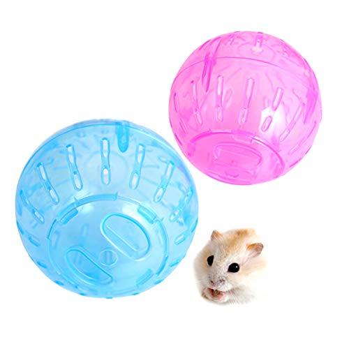 RoadLoo Bola Hámster, 2pcs Hamster Run Ball Plástico Pelota de Fitness Hamster Pelota Ejercicio para Animales Pequeños Juguete Interactivo para Hámster 12 cm de diámetro para Hamster Rata Jerbo