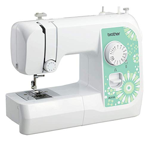 Brother JS2135 - Máquina de coser (Verde, Blanco, Bordado, Overlock, Costura, 4 Pasos, 4 mm, 750 RPM, 5 mm)