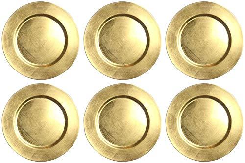 finemark 6 Stück Platzteller Gold Unterteller Dekoteller Durchmesser 33 cm Kunststoff Teller Weichnachten Tischdekoration