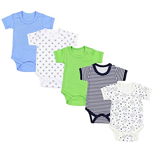 TupTam Jungen Baby Body Kurzarm in Unifarben - 5er Pack, Farbe: Farbenmix 6, Größe: 92