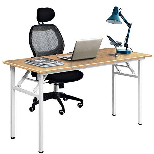 DlandHome Mesa Plegable Mesa de Ordenador Escritorio de Oficina 120x60cm Mesa de Estudio Puesto de Trabajo Mesas de Recepción Mesa de Formación,Teca/Blanco