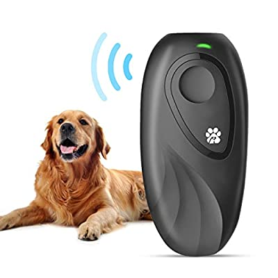 JZORI Latest Ultrasonic Dog Bark Deterrent, 2 in 1 16.4 Ft Anti Barking Control Device Dog Training Aid, Outdoor Indoor Dog Barking Control Devices Sonic Anti-bark Stop Barking Dog Trainer for Dogs