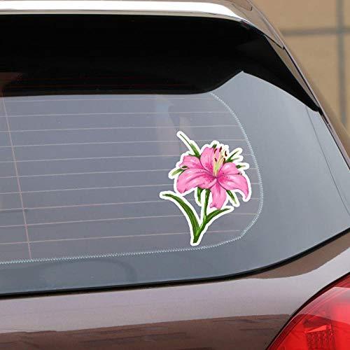 TJJL Car Stickers 12.6X15.9CM Interesting Romantic Pink Flower Car Stickers Accessories Bumper Decal