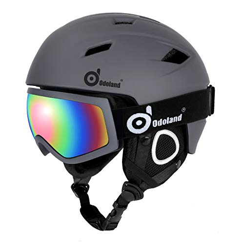Odoland Ski Helmet with Ski Goggles, Multi-Options Snowboard Helmet and Goggles Set for Men Women Youth and Kids, ASTM Safety Certificated,Grey,X-Large