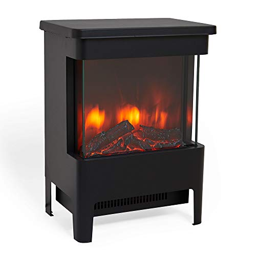 VonHaus 1900W Stove Heater ? Electric Fireplace/Stove Heater with LED Flame Effect ? Freestanding & Portable Design with Overheat Protection ? Black Metal with Glass Door