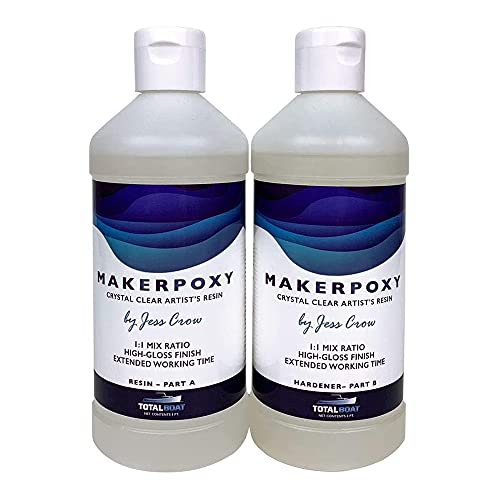 TotalBoat 520303 MakerPoxy Crystal Clear Artist's Resin by Jess Crow | Two Part Epoxy Kit for Resin Art | Use with Color Pigments & Tints | Includes Supplies | Long Working Time (Quart Kit)