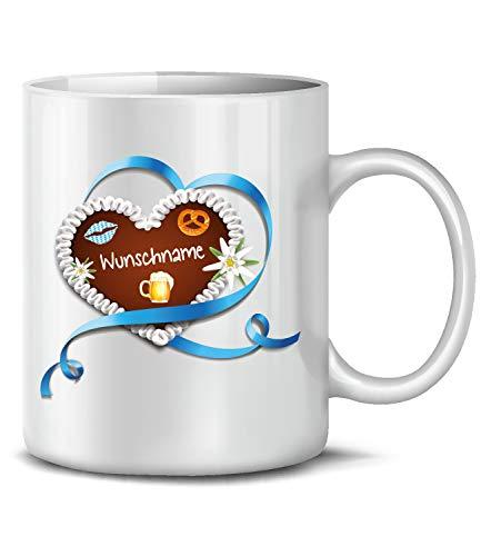 Golebros Oktoberfest Lebkuchenherz Wunschname 6313 bayrische Deko Accessoires Wiesn Tasse Becher Geburtstagstasse Geburtstagsgeschenk Volksfest Kaffee Weiss