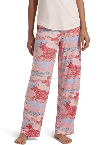 HUE Women's Printed Knit Long Pajama Sleep Pant, Pink Dogwood - Camo, Medium