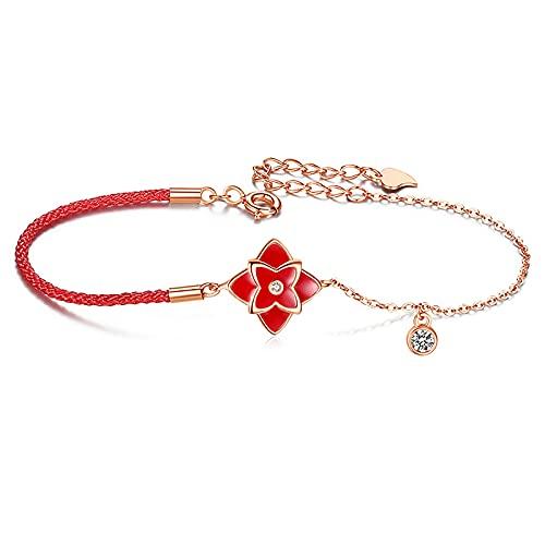 Pulsera termocrómica de cuatro hojas trébol pulsera de plata esterlina vintage rojo cadena
