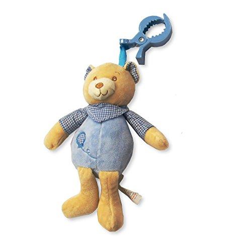 Bébé Garçon Bleu doux Ours en peluche à clipser Poussette, tour de lit et de siège de voiture jouet – Convient à partir de la naissance